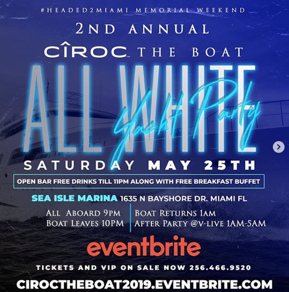 MIAMI, FL - ALL WHITE YACHT PARTY 5-25-19