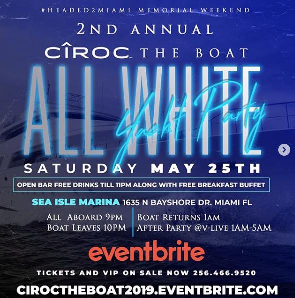 MIAMI, FL - ALL WHITE YACHT PARTY 5-25-19